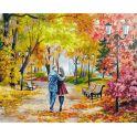 """Живопись на холсте Белоснежка """"Осенний парк, скамейка, двое"""", 40 х 50 см"""