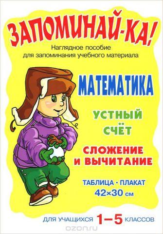 Математика. 1-5 классы. Устный счет. Сложение и вычитание. Плакат