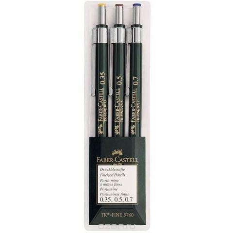 Механические карандаши TK®-FINE, 0,35, 0,5, 0,7мм, в пластмассовом пенале, 3 шт.