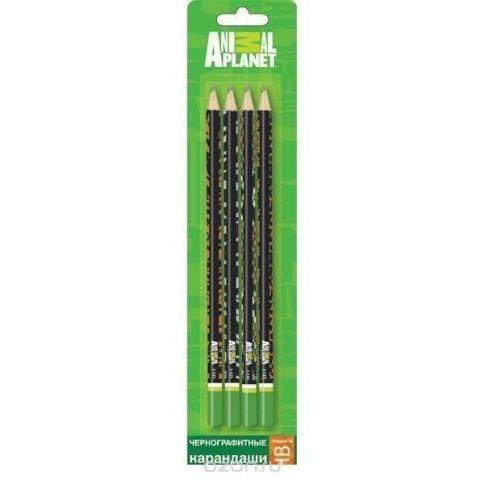 Набор карандашей чернографитных ANIMAL PLANET 4 шт., HB, заточ., блистер c е/по