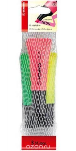 Текстовыделитель STABILO NEON 3шт в сетке-блистере, цвет: желтый, зеленый, розовый.