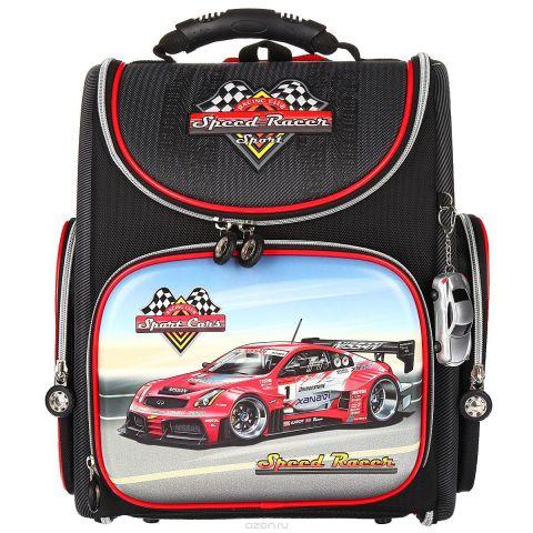 """Ранец школьный Hummingbird """"Speed Racer"""", цвет: черный, серый, красный. K43"""