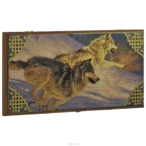 "Нарды малые Perfecto ""Волки"", размер: 40х40х4 см. 333s"