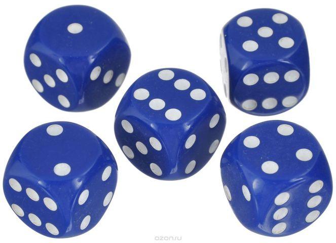 Набор игральных костей Компания Игра, 16 мм, цвет: синий, 5 шт