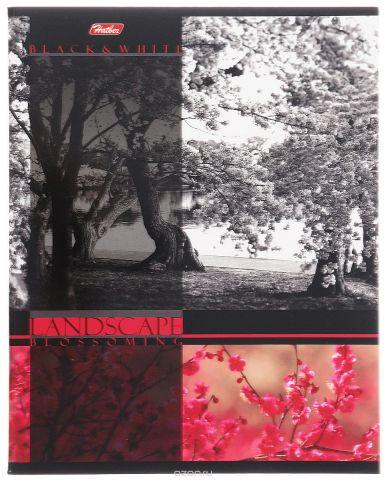 Hatber Тетрадь Цветущие пейзажи 60 листов в клетку цвет красный