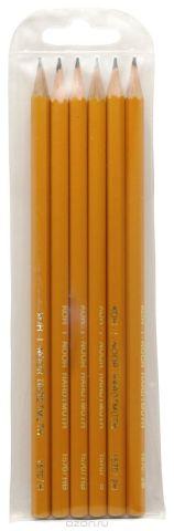 """Набор чернографитовых карандашей """"Koh-i-Noor"""", 2Н, Н, НВ, В, 2В, 6 шт. 126738"""