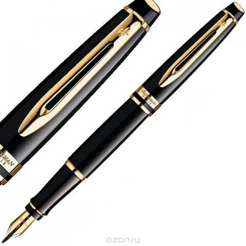 Waterman Ручка перьевая Expert Black GT синяя корпус черный золото
