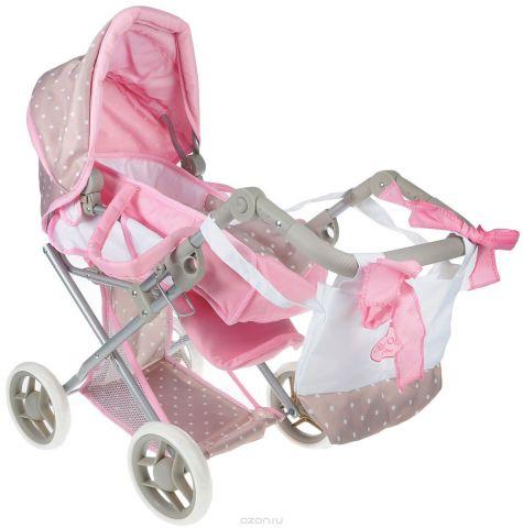 Bambolina Транспорт для кукол Средняя классическая коляска с сумкой