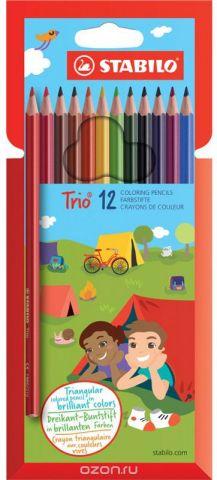 """Карандаши цветные Stabilo """"Trio"""", 12 цветов"""