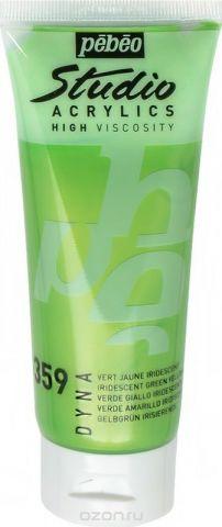 Pebeo Краска акриловая Studio Acrylics Dyna цвет 832-359 зелено-желтый иридисцентный 100 мл