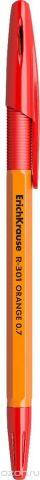 Erich Krause Ручка шариковая R-301 Orange 0.7 Stick&Grip красная 43189