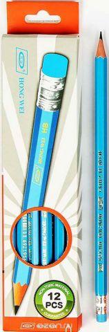 Карандаш чернографитный с ластиком твердость HB цвет корпуса голубой