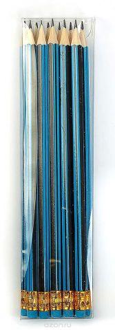 Calligrata Карандаш чернографитный Полоски с ластиком твердость HB цвет корпуса черный синий
