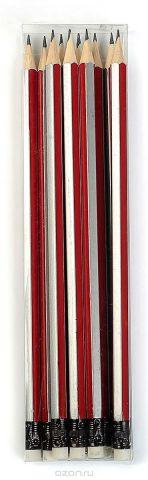 Calligrata Карандаш чернографитный Полоски с ластиком твердость HB цвет корпуса красный серый