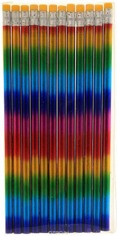 Calligrata Карандаш чернографитный Голограмма с ластиком твердость HB цвет корпуса разноцветный