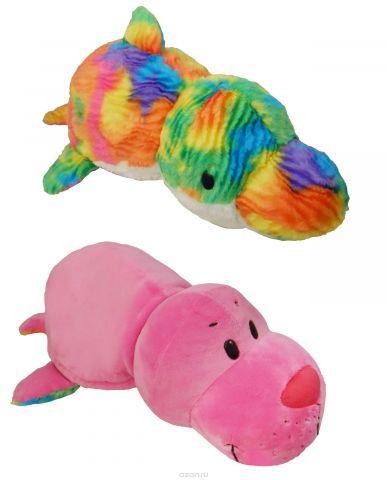 1TOYМягкая игрушкаВывернушка 2в1 Морской котик-Радужный Дельфин 40 см