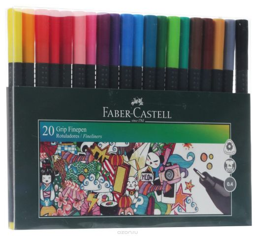 Faber-Castell Набор капиллярных ручек Grip Finepen 20 шт