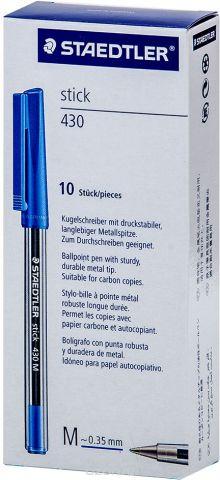 Набор шариковых ручек Staedtler Stick 430 M, цвет чернил: синий, 10 шт