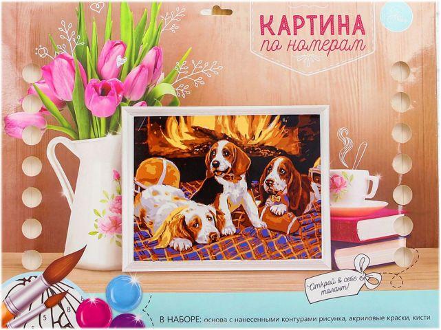 """Картина по номерам Школа талантов """"Собаки у камина"""", 1063947, 30 х 40 см"""