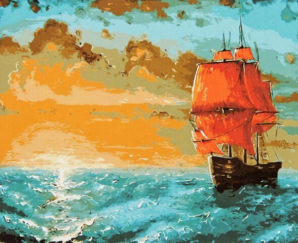 """Картина по номерам Школа талантов """"Корабль с алыми парусами"""", 1387433, 30 х 40 см"""