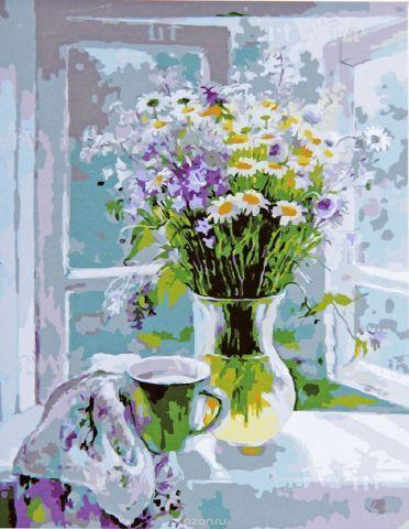 """Картина по номерам Школа талантов """"Полевые цветы на окне"""", 1387460, 30 х 40 см"""