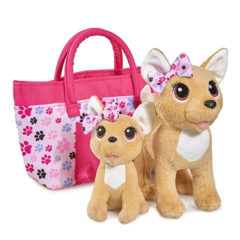"""Chi-Chi love 5893213129 Плюшевые собачки """"Счастливая семья"""", 2 собачки в сумочке  20 см и 14 см"""